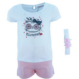 Παιδικό Σετ-Σύνολο Εβίτα 202269 Λευκό Ροζ Κορίτσι