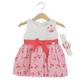 Βρεφικό Φόρεμα Εβίτα 214519 Εκρού Ροζ Κορίτσι