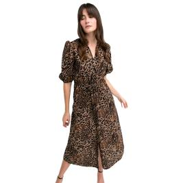 Γυναικείο Φόρεμα Anel 58442 Καφέ Λεοπάρ