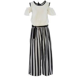 Παιδική Ολόσωμη Φόρμα Εβίτα 214061 Λευκό Μαύρο Ριγέ Κορίτσι