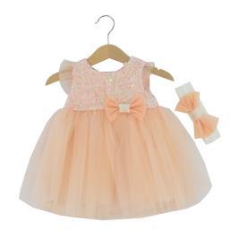 Βρεφικό Φόρεμα Εβίτα 214528 Ροδακινί Κορίτσι