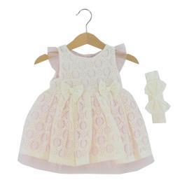 Βρεφικό Φόρεμα Εβίτα 214532 Εκρού Κορίτσι