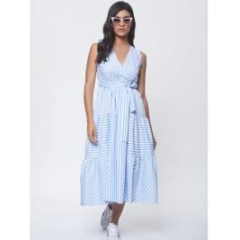 Γυναικείο Φόρεμα Anel 58675 Γαλάζιο Λευκό