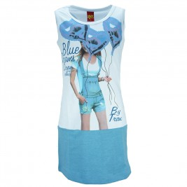 Παιδικό Φόρεμα Trax 31106 Λευκό Γαλάζιο Κορίτσι