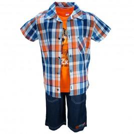 Παιδικό Σετ-Σύνολο Joyce 7189 Καρρώ Πορτοκαλί Αγόρι