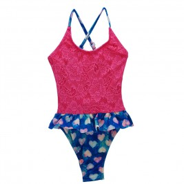 Παιδικό Μαγιώ Hippies 7-K10-662 Φούξια Εμπριμέ Κορίτσι