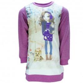 Παιδικό Φόρεμα Joyce 7482 Μωβ Εμπριμέ Κορίτσι