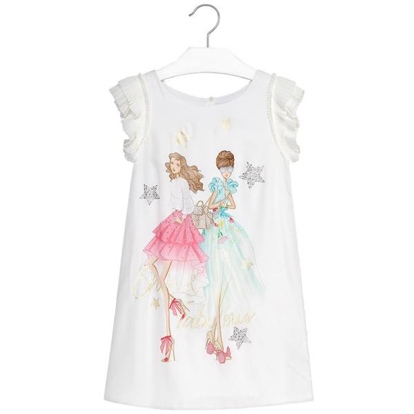 eb6ad714463 Παιδικό Φόρεμα Mayoral 28-06926-053 Εκρού Βεραμάν Κορίτσι