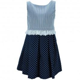 Παιδικό Φόρεμα M&B 8855 Λευκό Μπλε Κορίτσι