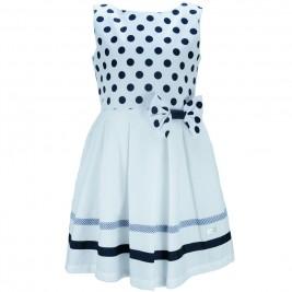 Παιδικό Φόρεμα M&B 8905 Λευκό Μπλε Κορίτσι