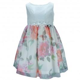 Παιδικό Φόρεμα M&B 8824 Εκρού Εμπριμέ Κορίτσι