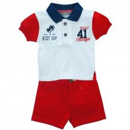 Βρεφικό Σετ-Σύνολο NCollege 28-8826 Λευκό Κόκκινο Αγόρι