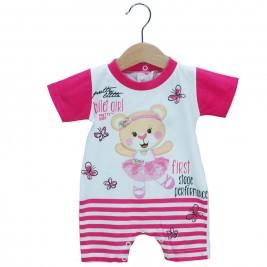 Βρεφικό Ολόσωμο Φορμάκι Pretty Baby 32873 Φούξια Λευκό Κορίτσι