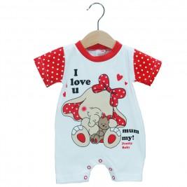 Βρεφικό Ολόσωμο Φορμάκι Pretty Baby 32871 Κόκκινο Λευκό Κορίτσι