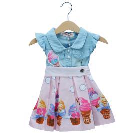 Βρεφικό Φόρεμα Εβίτα 198519 Τζιν Κορίτσι