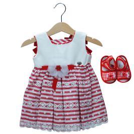 Βρεφικό Φόρεμα Εβίτα 198527 Εκρού Κόκκινο Κορίτσι