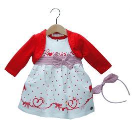 Βρεφικό Φόρεμα Εβίτα 198526 Εκρού Κόκκινο Κορίτσι