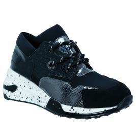 Γυναικείο Sneaker Renato Garini EX9242 Μαύρο Ατσαλί Φίδι