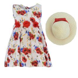 Παιδικό Φόρεμα Εβίτα 202207 Λευκό Εμπριμέ Κορίτσι