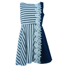 Παιδικό Φόρεμα MB 10107 Λευκό Μπλε Κορίτσι