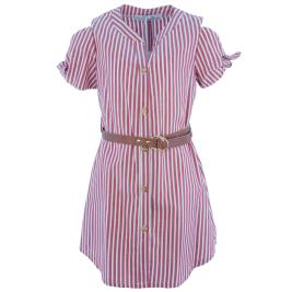 Παιδικό Φόρεμα MB 10124 Κόκκινο Κορίτσι